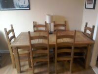 6 seater table and chairs,usual wear and tear
