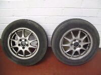 """Pair VOLVO 5 stud 15"""" wheels and tyres fit S60 S80 V70 Michelin 195/65 15 tyres"""