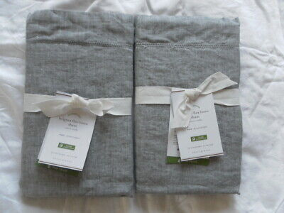 NEW AUTH POTTERY BARN BELGIAN FLAX LINEN 2 EURO SHAM  26X26 IN 66X66 CM GREY