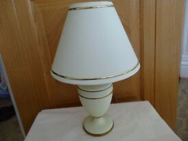 LAMP SHADE & BASE - IVORY COLOUR - AS NEW