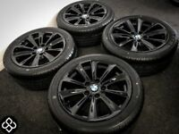 """GENUINE BMW 17"""" ALLOY WHEELS WITH TYRES - 225/45/17 - CRYSTAL BLACK"""