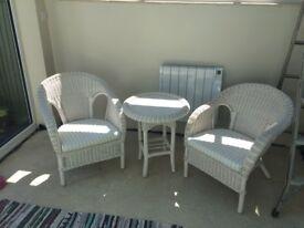 White 3 piece wicker conservatory set
