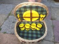 wicker picnic basket hamper with Plates, cup and cutlery.