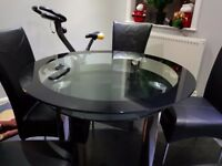 Black glass round dining table 4x chairs