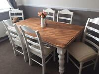 REDUCED!! Solid Oak 6ft Farmhouse table and 6 high back chairs.