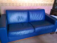 Large metal frame double bed sattee in dark blue. Free to collect.