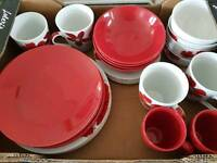 Dining set. Plates. Bowls and cups