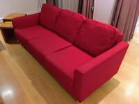 Great 3-seater sofa with 2 matching chairs - burgundy red