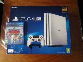 PS4 Pro Console in White - Brand New & Sealed + 1 Game, Knowledge is Power