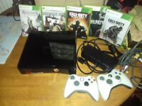 Xbox 360 slim 250gb with 5 games and 2 Controllers and all leads
