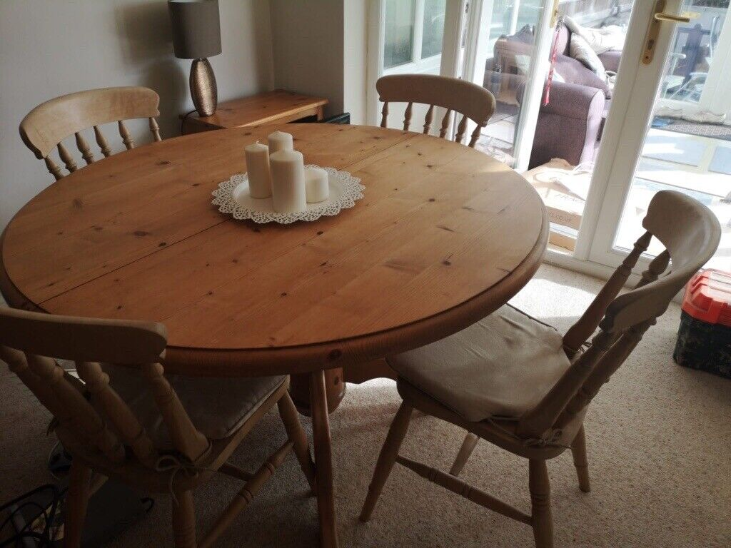 Solid Wood Dining Room Table And 4 Chairs Horbury West Yorkshire