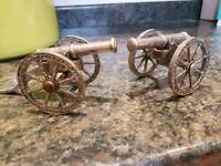2 miniature military silver plated canons