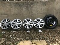 Full Set of Toyota Auris Alloy Wheels plus Space Saver Wheel For 2012 & Up