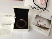 Pandora bracelet with box, bag and receipt