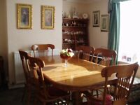 Dining room table and eight chairs
