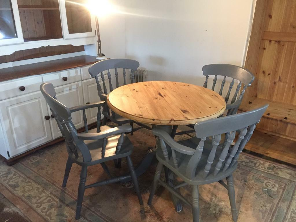 Solid Hand Painted Dining Room Table And Chairs Rustic Cottage Grey Furniture Pine Lounge Seat