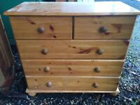 4 drawer tall pine chest of drawers