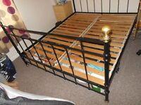 queen size metal bed frame & slats, minus mattress, vgc
