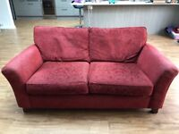 Sofa - M&S red patterned.