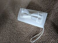 Ivory satin bow bridal bag wedding