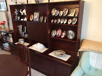 Meredew mahogany dark wood dresser unit with cupboards under ,lighted display/drinks cupboard above