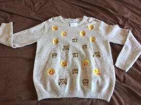 NEW EMOJI JUMPER WOMENS SOFT KNIT EMBROIDERED SIZE M 10 12 RP£15 COMFY FREE DELIVERY CREAM BEIGE