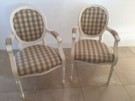 Gustavian style painted carver chairs x two