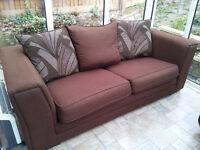Brown/Chocolate Fabric Sofa 3 seat
