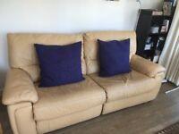 Leather cream sofa - recliner