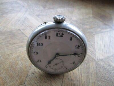 ART. Vintage Chrome Plated Custom Table Pocket Watch. MOVADO Sureté. For parts.