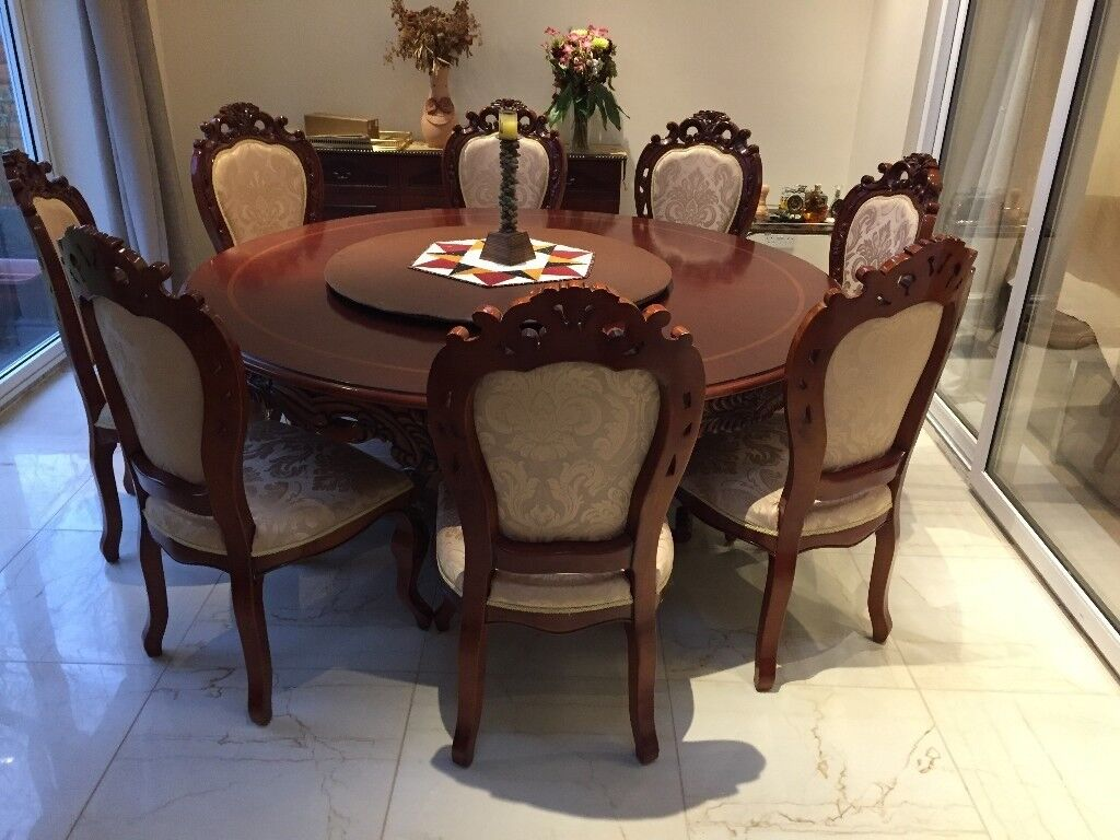 Round Wooden Dining Table Chairs Side Available