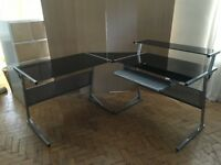 Black glass & metal John Lewis corner desk unit