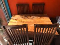4 seater dining table and chairs (shesham)
