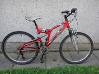 Saracen vice full suspension bike, 26 inch wheels, 21 gears, 18 inch frame
