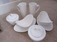 DUNELM PAUSA LATTE COFFEE MUGS & LIDDED STORAGE POTS SUSHIMI DISHES & SCOOP BOWLS 2 OF EACH ITEM