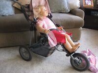 Silver Cross stroller, kids buggy and carry seat, all three complete with dolls and many accessories