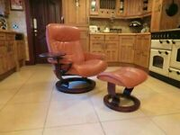 Ekornes Stressless Reclining Leather Chair + Stool + Swing Drinks Tray