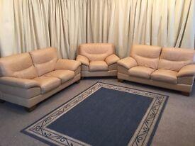 Cream Leather Suite - 2 x 2 Seater Sofas & Armchair 3 Piece Suite