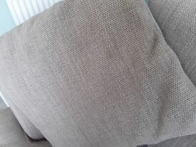 Corner sofa,beige,basketweave fabric, and four cushions to match.