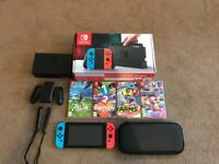 Nintendo Switch & 4 Games with Case
