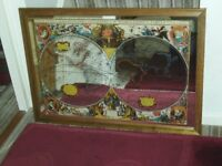 A Large Mirror With A Beautiful Old World Map & Wonderful Detail & Information & Various Scenes