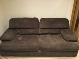 Brown material 3 seater and 2 seater