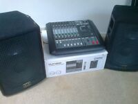 PA system Citronic Power Mixer and SR Technology Speakers