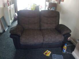 2+3 seater recliner sofa brown