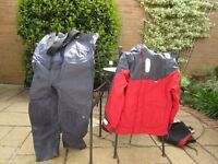 Boating storm jacket and chest high trousers