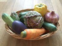 Ceramic Vegetables In Woven Basket