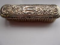 Antique solid silver backed clothes brush