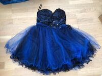 Blue Party Dress, Quiz, Lace, Netting, Size GB 14 (comes up smaller).