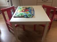 Ikea kids white table with x2 red chairs good condition
