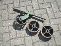 Early 1900s Antique Solid Cast Iron Railway Cart Wheels